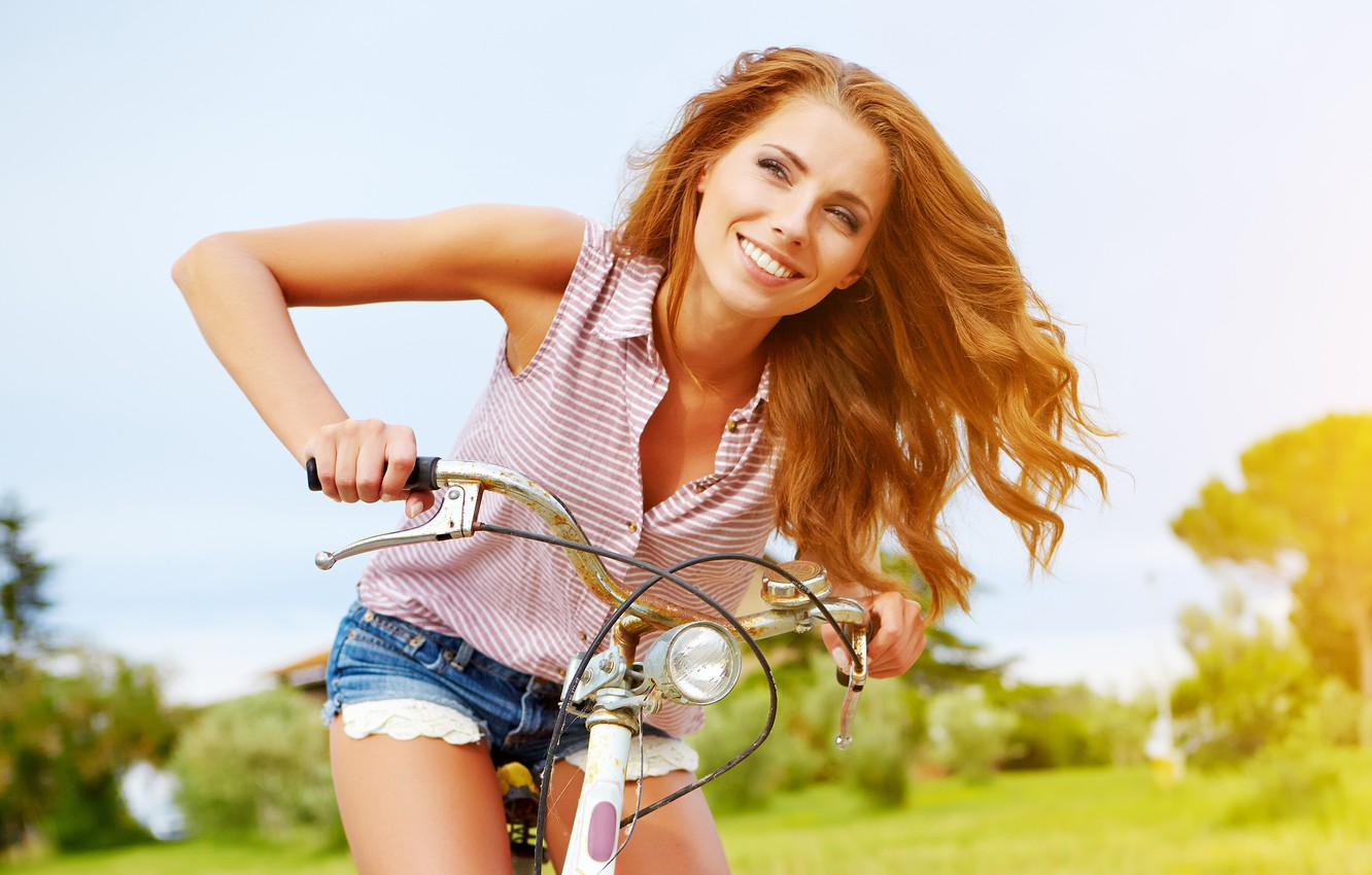 Photo wallpaper summer, girl, joy, bike, model, trip, Izabela Magician