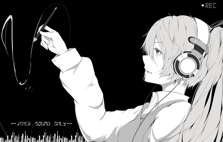 Photo wallpaper girl, anime, headphones, art, vocaloid, hatsune miku, monochrome, marumoru