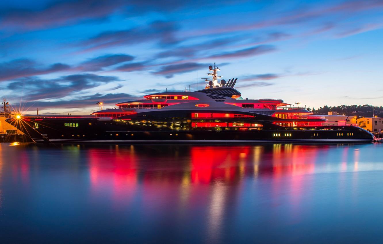 Photo wallpaper the ocean, the evening, yacht, pierce, twilight, Seattle, Pier 90