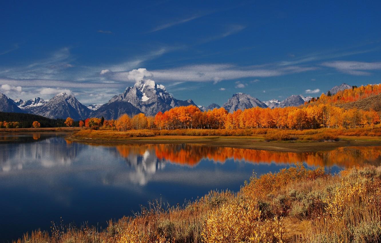 Photo wallpaper autumn, trees, landscape, mountains, nature, lake