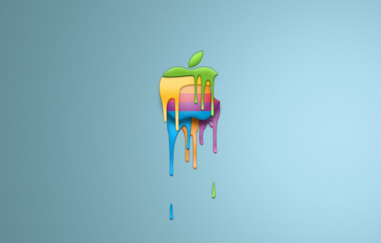 Photo wallpaper paint, apple, minimalism, logo
