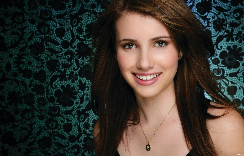 Photo wallpaper girl, smile, actress, brunette, beautiful, Emma Roberts, Emma Roberts