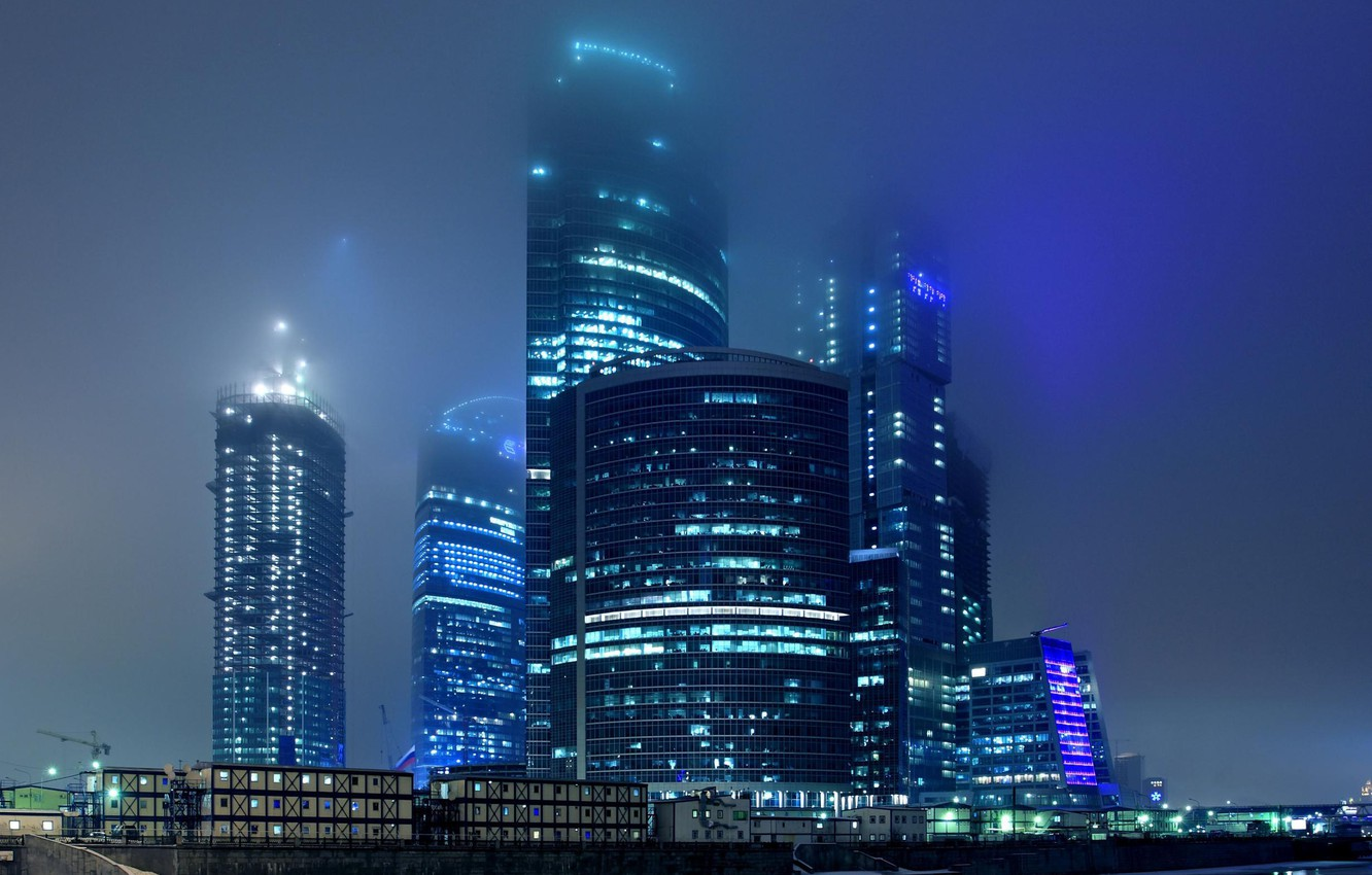 Photo wallpaper night, the city, lights, fog, Moscow, skyscrapers, building, complex, business center, Moscow-City