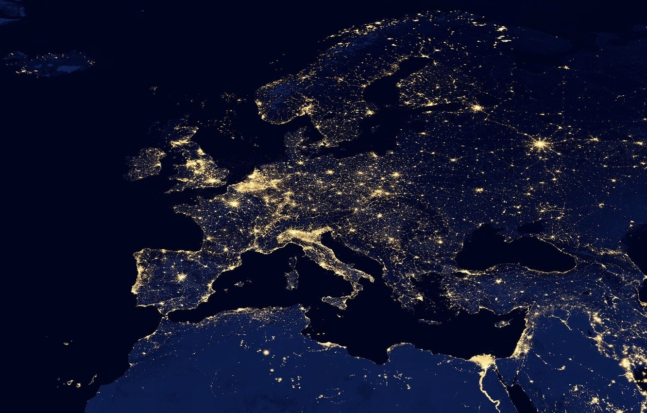 Wallpaper space, light, night, lights, map, the evening, Europe ...