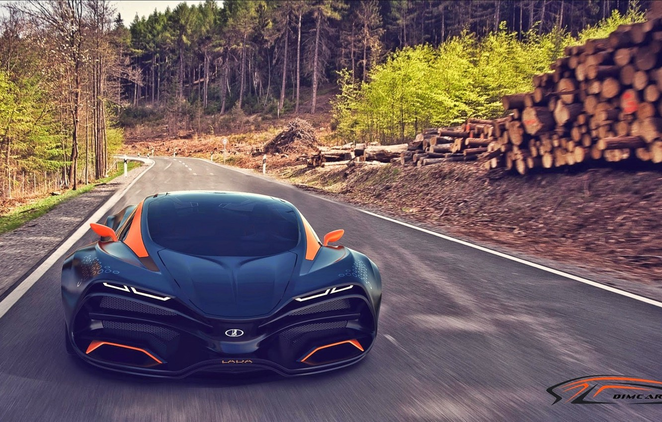 Photo wallpaper Concept, Road, Trees, Forest, Speed, Car, Lada, Speed, Lada, Road, Forest, Trees, 2014, Raven, Equal