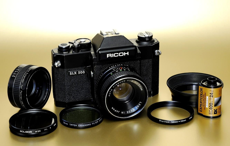 Photo wallpaper background, ring, the camera, lens, mirror, film, mechanical, Rikenon 50mm F / 2, film, Ricoh …