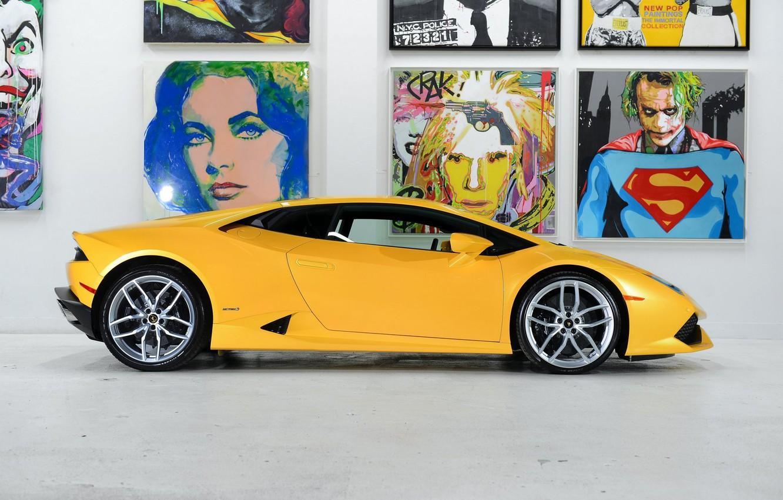 Photo wallpaper Lamborghini, Yellow, Side, Studio, Picture, Supercar, Huracan, LP610-4, Ligth