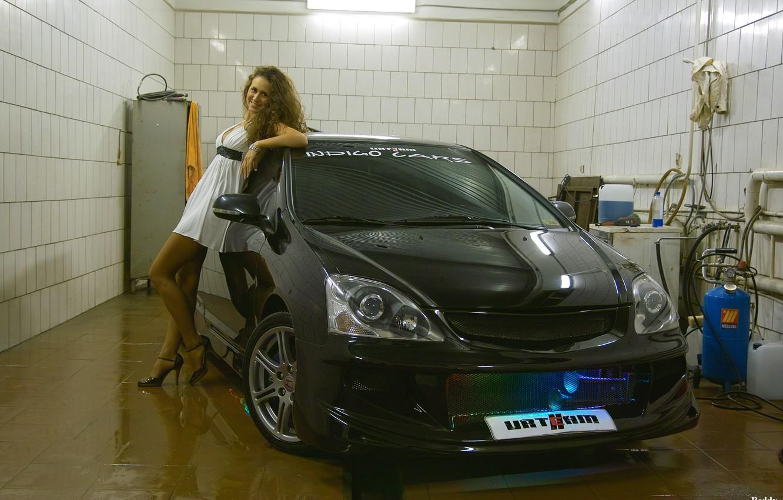 Photo wallpaper Girl, Backlight, Garage, Honda