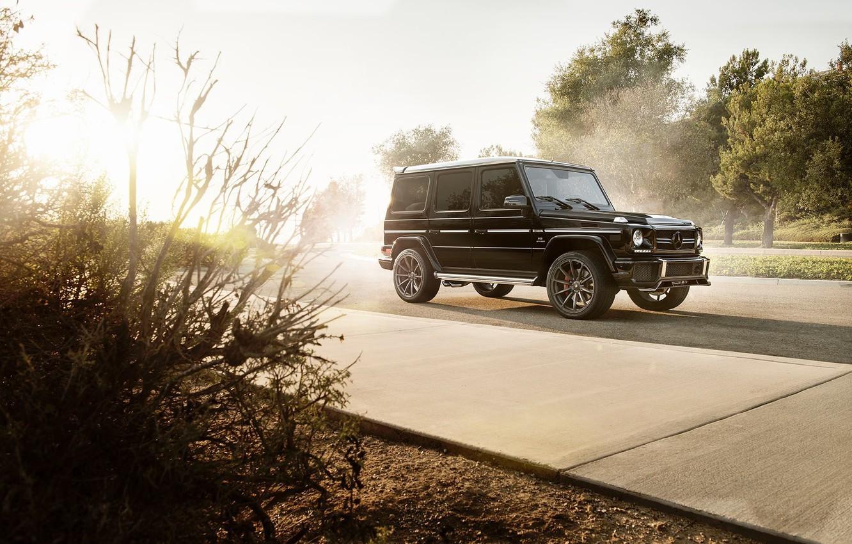Photo wallpaper Mercedes-Benz, Front, AMG, Black, Sun, Road, G63, All-terrain vehicles