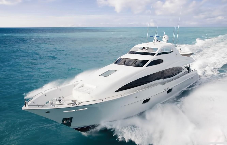 Photo wallpaper sea, wave, the sky, speed, yacht