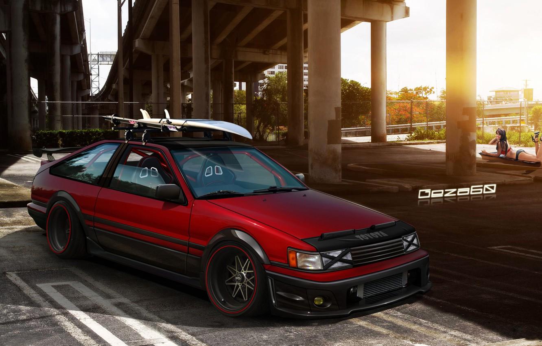 Photo wallpaper girl, bridge, Parking, Toyota Corolla AE86