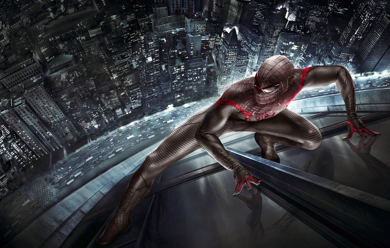 Photo wallpaper road, machine, the city, reflection, costume, The Amazing Spider-Man, New spider-Man