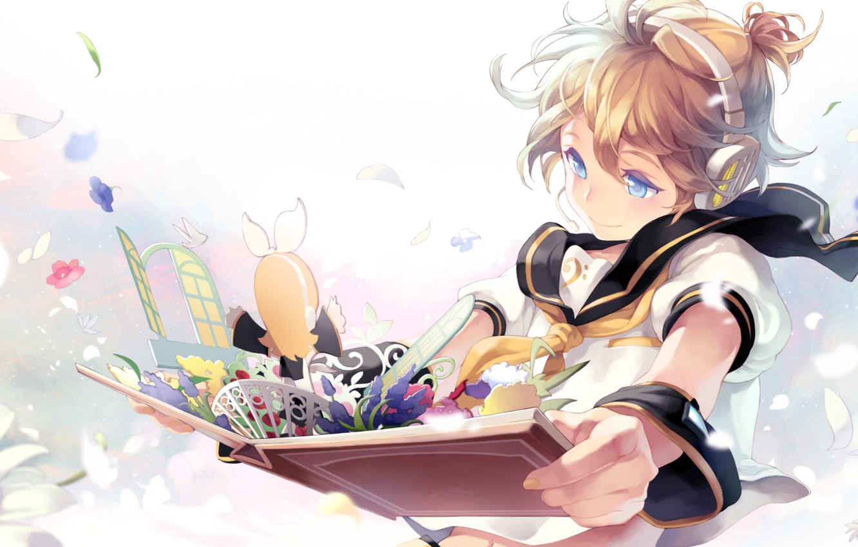 Photo wallpaper anime, art, book, kagamine rin, Vocaloid