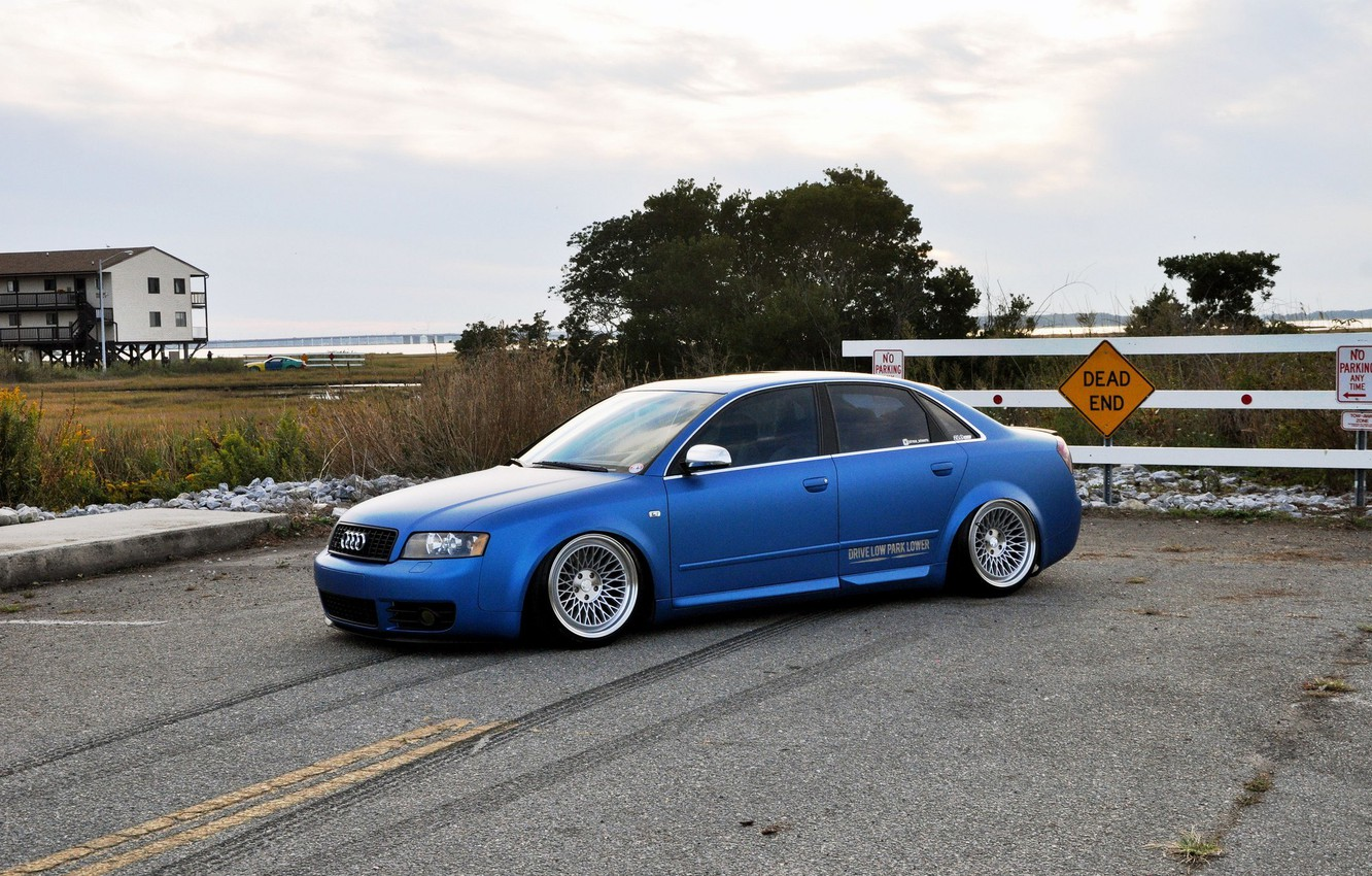 Photo wallpaper audi, wheels, quattro, blue, tuning, germany, low, stance