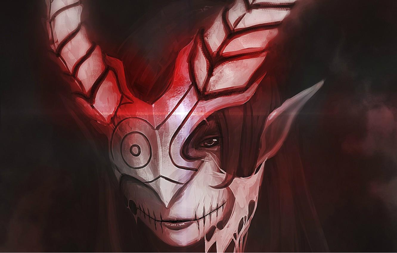 Photo wallpaper darkness, mask, horns, The demon