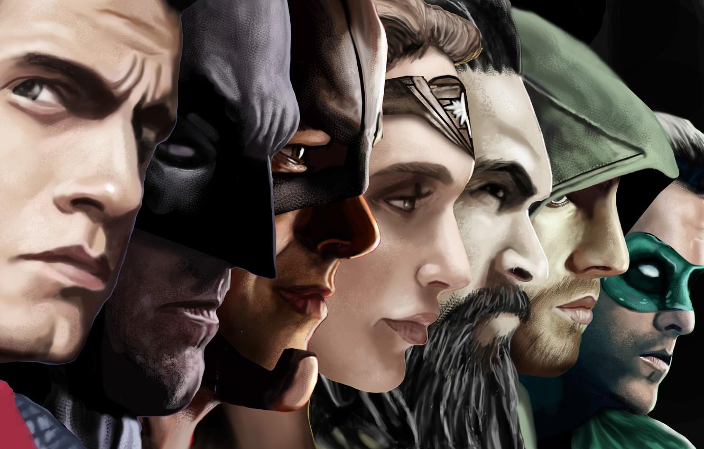 Photo wallpaper batman, superman, green lantern, ryan reynolds, wonder woman, flash, arrow, henry cavill, justice league, green …
