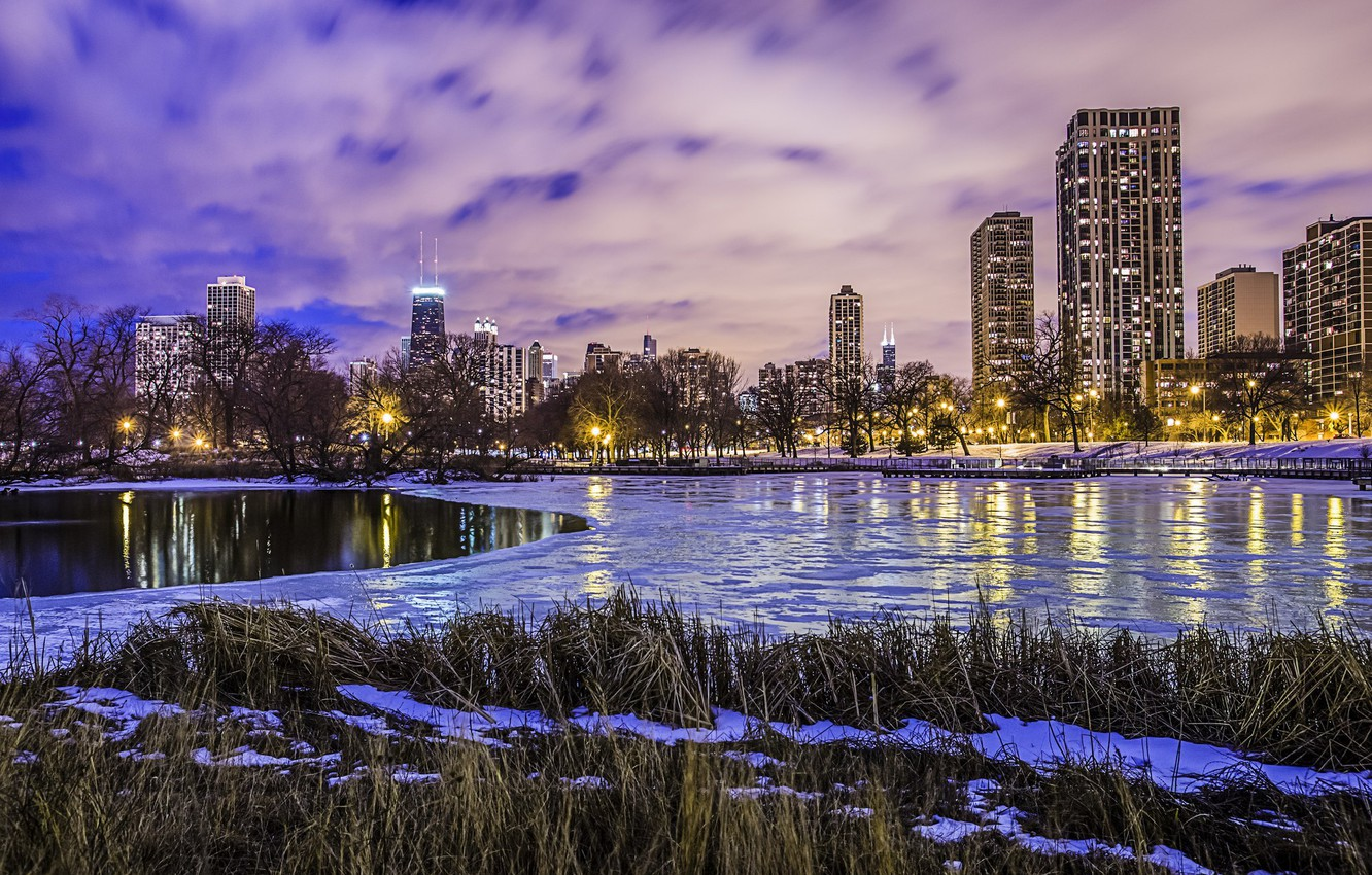 Photo wallpaper winter, water, clouds, lights, lake, ice, skyscrapers, the evening, America, Chicago, USA, Il