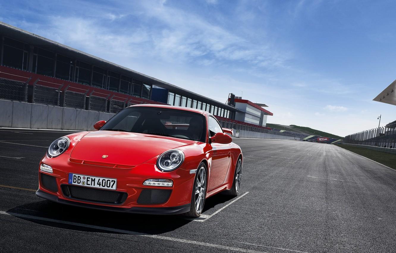 Photo wallpaper asphalt, red, track, sports car, salon, start, porsche 911 GT3