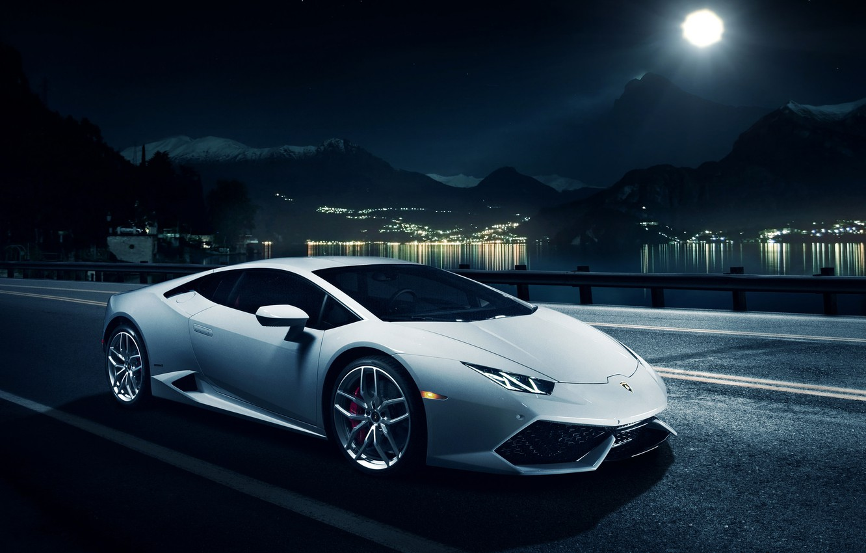 Photo wallpaper night, Lamborghini, horizon, white, front, LP 610-4, Huracan, Ronaldo Stewart, LB724
