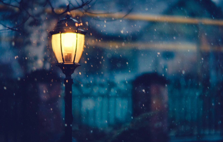 Photo wallpaper winter, light, snow, trees, night, the fence, home, lighting, lantern