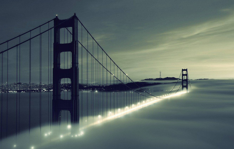 Photo wallpaper the sky, clouds, bridge, city, the city, lights, lights, fog, river, Golden Gate Bridge, river, …