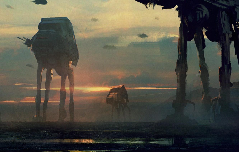 Photo wallpaper robots, star wars, art, imperial walkers