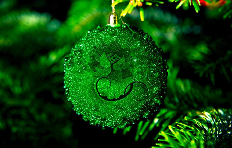 Photo wallpaper patterns, Christmas ball, Fir-tree branches