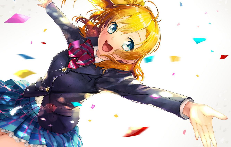 Photo wallpaper girl, joy, anime, art, form, schoolgirl, kanipanda