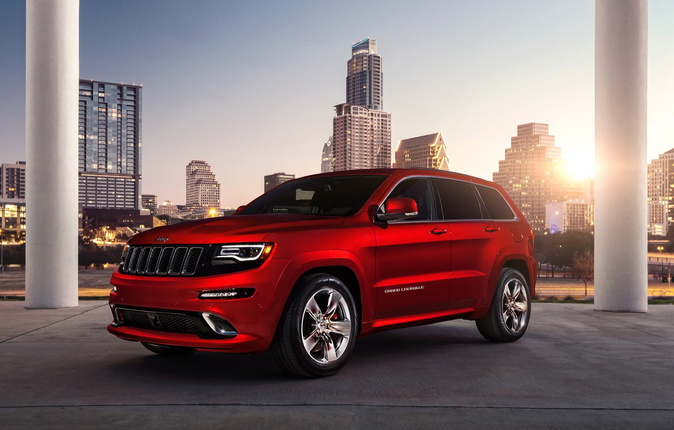 Photo wallpaper red, city, the city, building, Jeep, red, srt, grand cherokee, building, Jeep