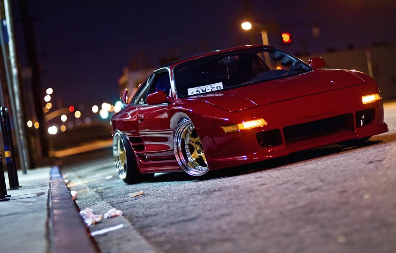 Photo wallpaper road, night, lights, street, road, toyota, night, Toyota, mr2