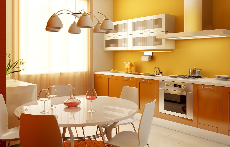 Photo wallpaper flowers, glass, kitchen, chandelier, pitcher, table, tangerines, lockers