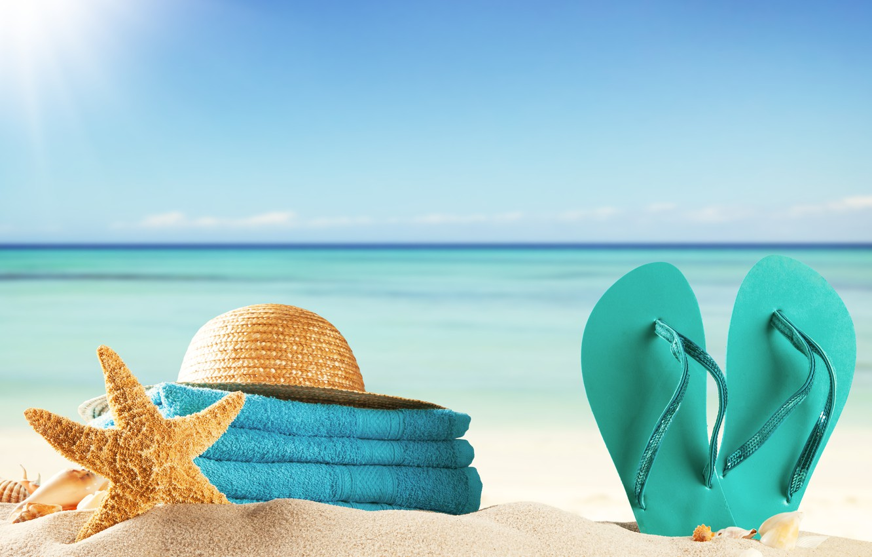 Photo wallpaper sand, sea, beach, summer, the sun, stay, towel, hat, shell, summer, beach, vacation, sea, sun, …