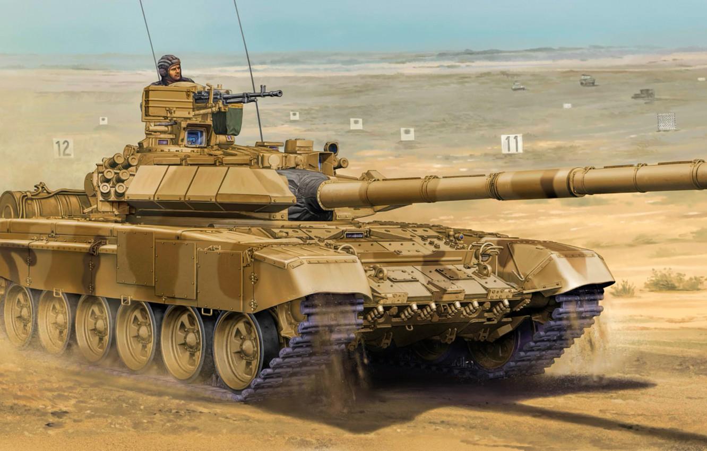 Photo wallpaper weapon, war, art, painting, tank, t-90