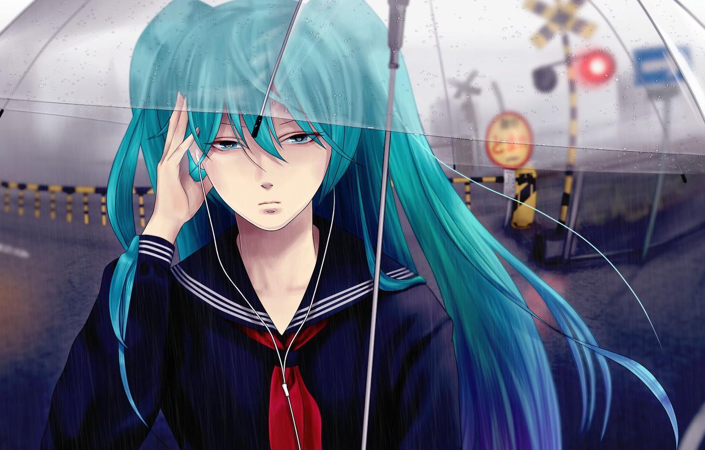 Photo wallpaper girl, drops, rain, street, umbrella, headphones, vocaloid, hatsune miku, the barrier, moving, sailor