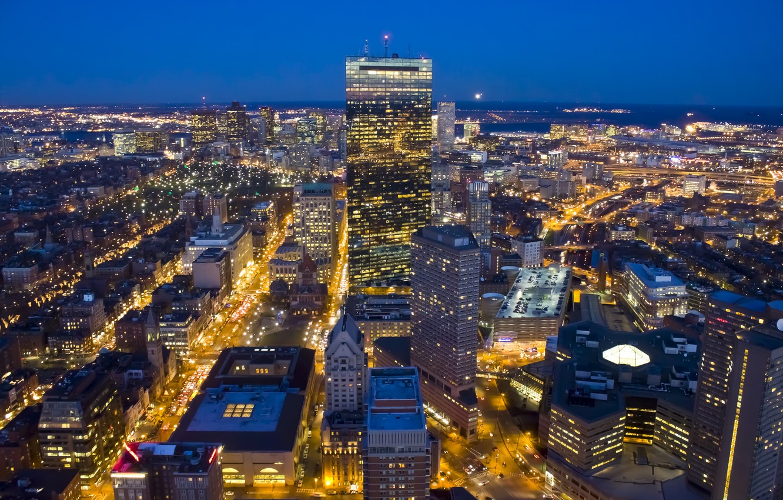 Photo wallpaper night, the city, lights, view, building, home, skyscrapers, panorama, USA, USA, Boston, Boston, skyscrapers, Massachusetts, …