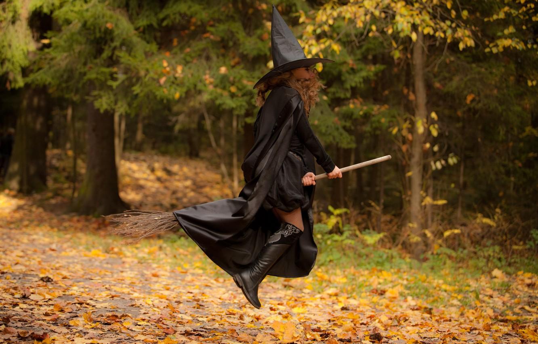 Photo wallpaper forest, black, magic, girl, flight, brown hair, witch, broom, cloak