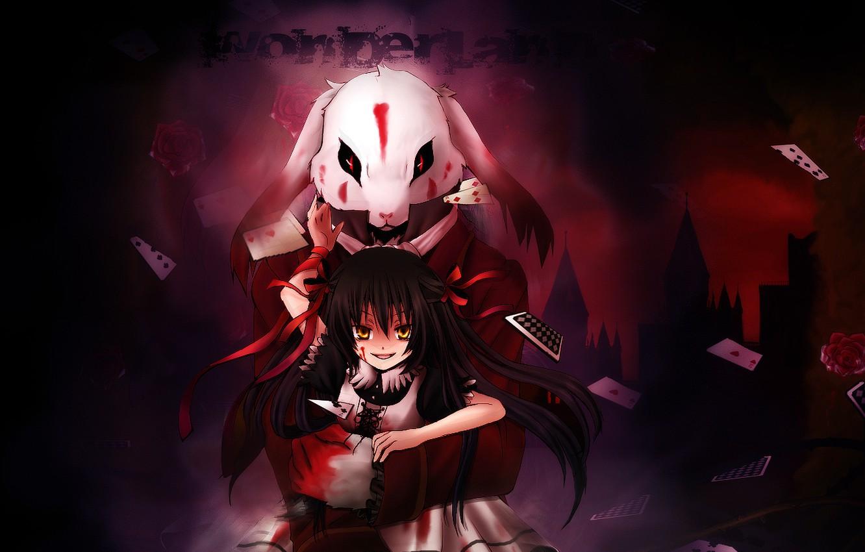Photo wallpaper card, blood, rabbit, Alice, Pandora Hearts