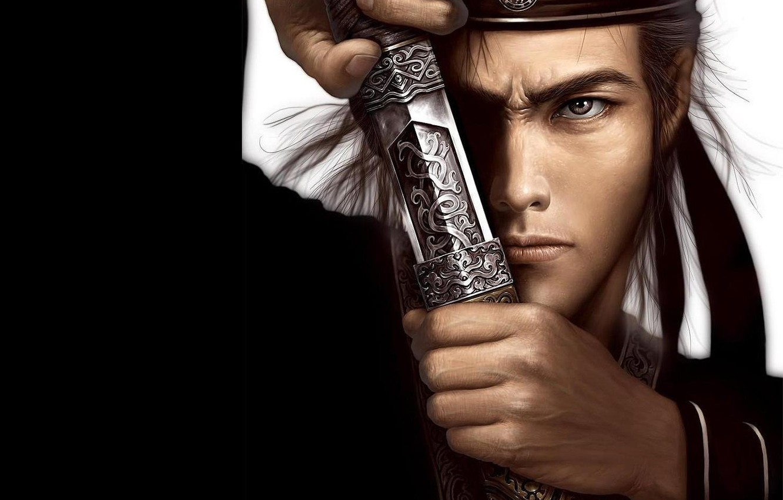 Photo wallpaper look, sword, warrior, samurai, male, blade