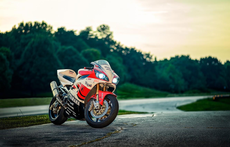 Photo wallpaper road, trees, sunset, motorcycle, white, white, yamaha, bike, Yamaha, yzf-r1
