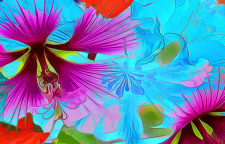 Photo wallpaper flower, line, rendering, paint, petals