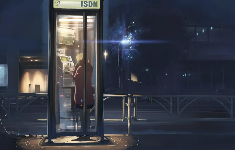 Photo wallpaper night, street, girl, lantern, 5 centimeters per second, Makoto Xingkai, phone booth