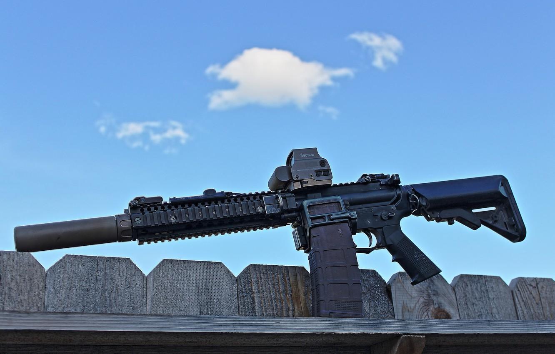 Photo wallpaper the sky, rifle, muffler, carabiner, assault, semi-automatic