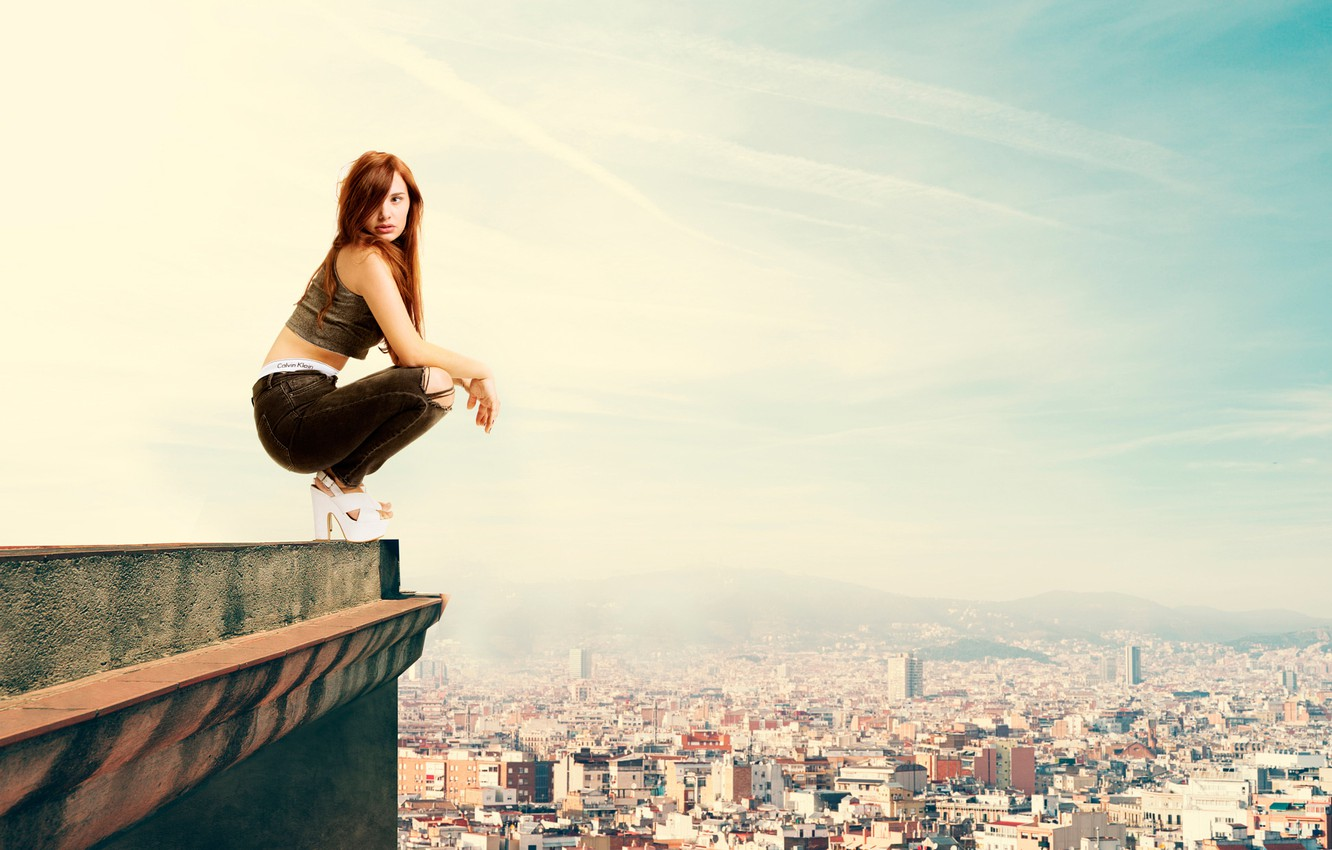 Photo wallpaper roof, girl, the city, height