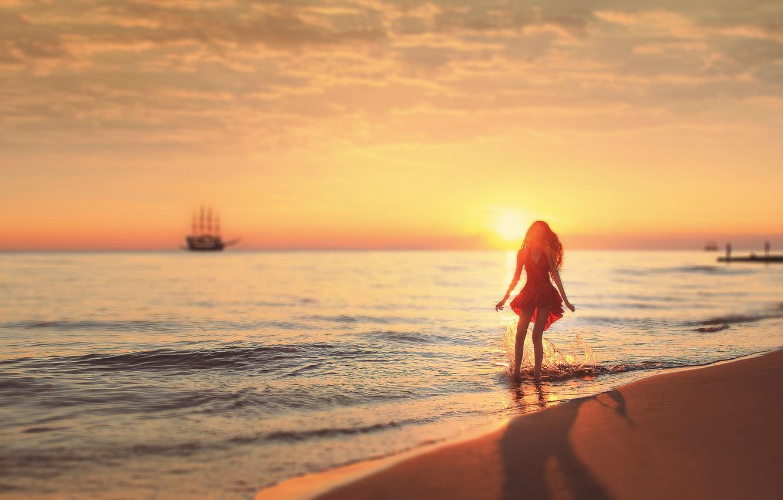 Photo wallpaper The sun, Sand, Sea, Beach, Girl, Dress