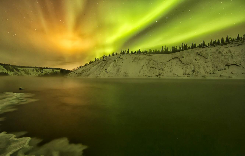 Photo wallpaper winter, snow, lake, Northern lights, Alaska, glow, USA, Yukon