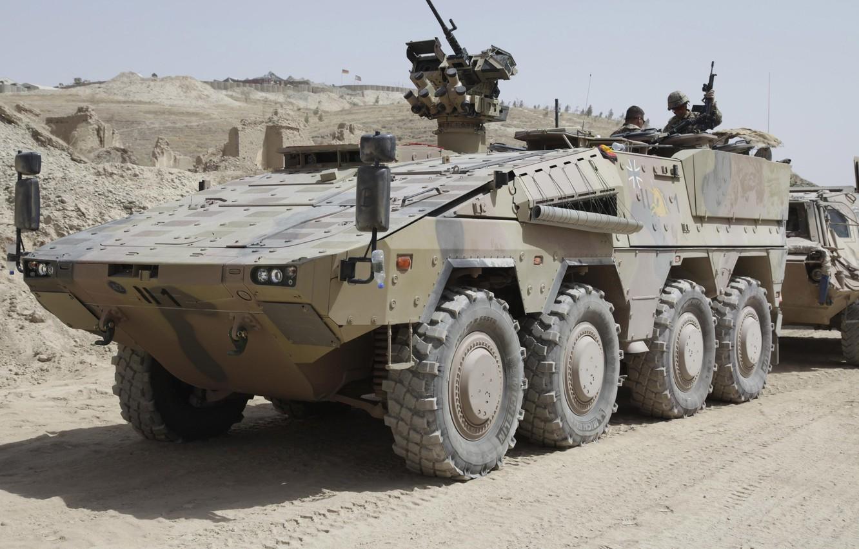 Photo wallpaper sand, destruction, base, soldiers, machine gun, APC, The Bundeswehr, Armoured Transport Vehicle Boxer