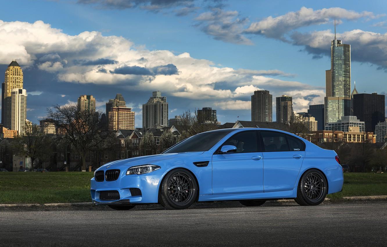 Photo wallpaper the sky, clouds, blue, BMW, BMW, f10, Yas Marina Blue