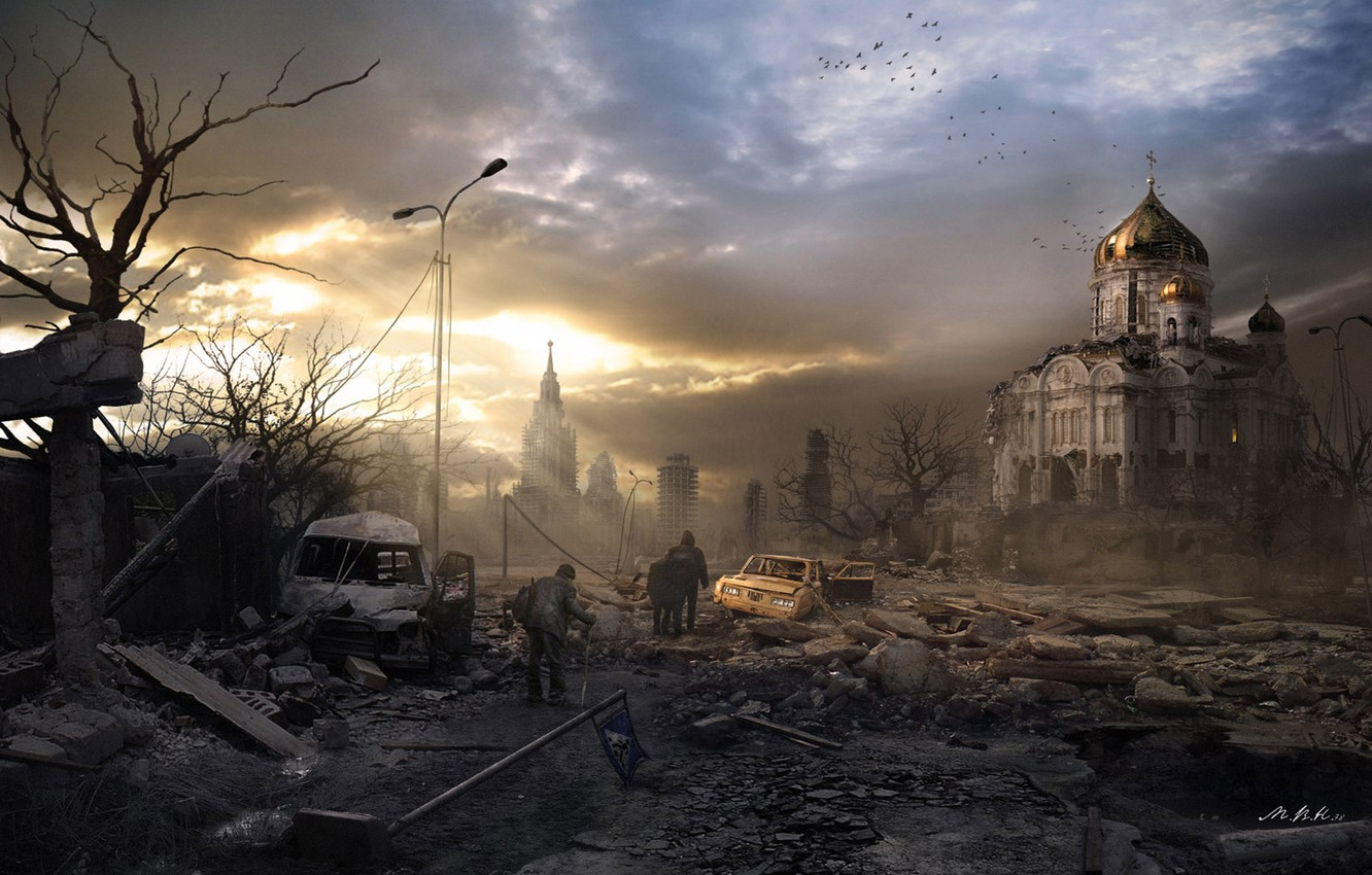 Photo wallpaper the city, Moscow, art, the end of the world, nuclear war, post