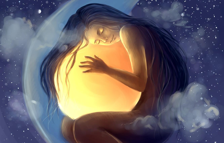Photo wallpaper girl, stars, clouds, ball, sleep, art, sphere