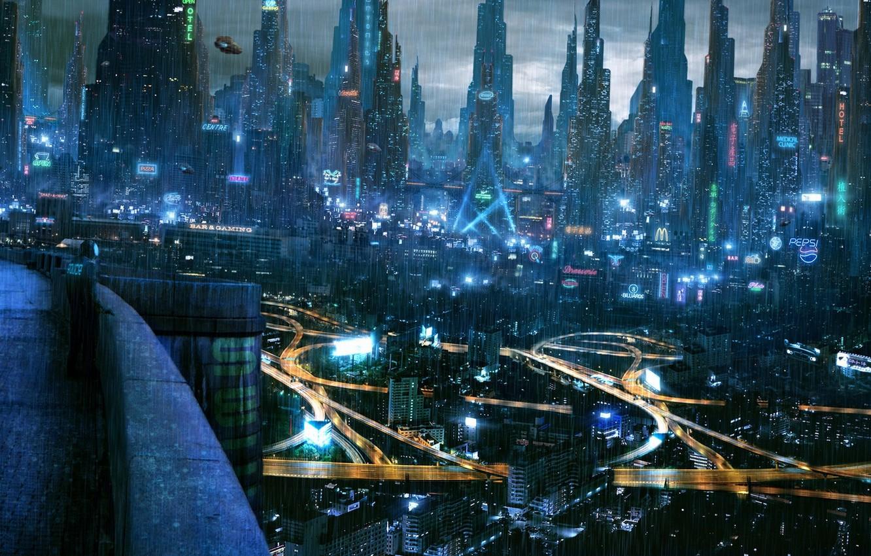 Photo wallpaper the city, lights, future, cyberpunk